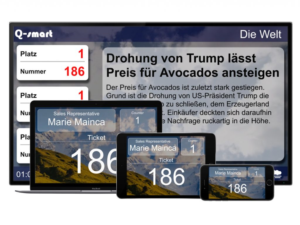 cloud queue management system displays