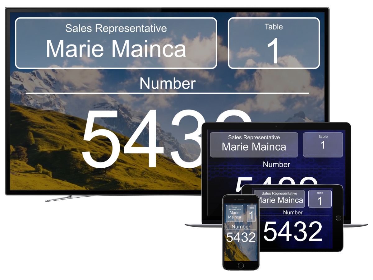 cloud queueing system ticket number tv and tablet