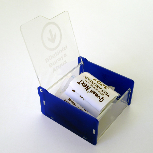 bilet toplama kutusu mavi